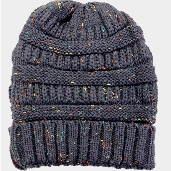 31082397456 Knit confetti beanie winter hat skully charcoal